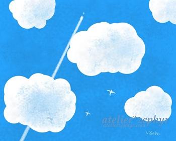 atelier*zephyrデジタルアート 青空と飛行機雲