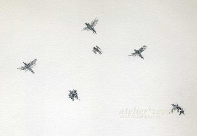 飛ぶ鳥の群れ 鉛筆スケッチ