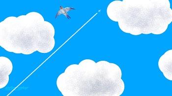 青空と飛行機雲 デジタルイラスト