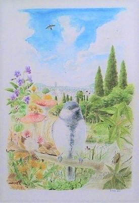 シジュウカラと自然界の水彩画