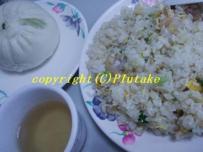 海老炒飯と野菜饅