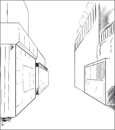 ibisPaintX 一点透視図法 建物
