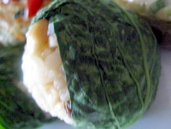 玄米おにぎり小松菜包み3