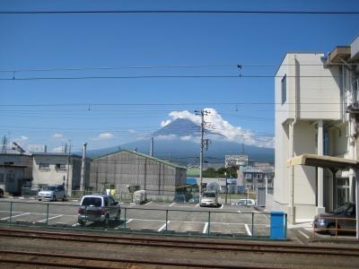 吉原駅から見た富士山