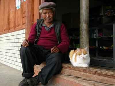 農村で出会った老人