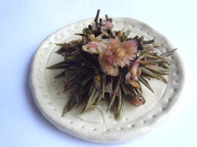 中国茶 金元宝開いた茶葉と花