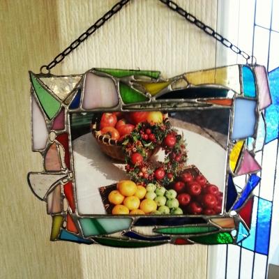 夏休み手作り体験 ステンドグラスのモザイクフォトスタンド