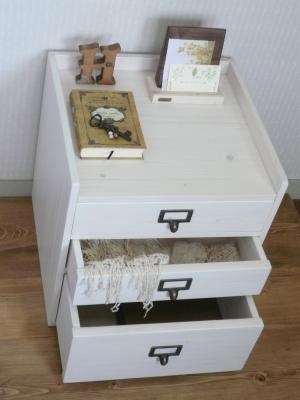 卓上引出 3段 かわいい 木工雑貨