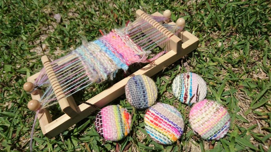 夏休み お出かけ 手作り体験 織り機 織布 親子