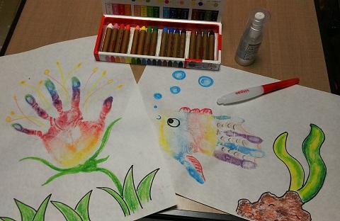 夏休みイベント 思い出 手作り キットパスで手形アート!