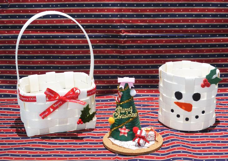 冬休み クリスマス クラフトバンド かご パーティー準備 手作り