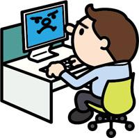 ネットワークに接続された管理用PC端末を操作する職員のイメージ