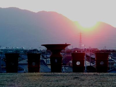 石塚古墳から見る落日