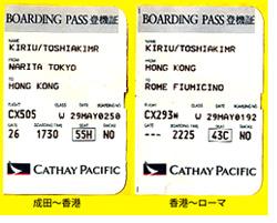 成田からローマまでの航空券