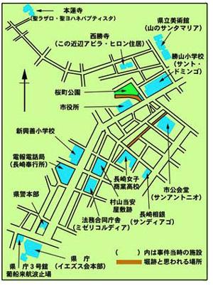 事件当時のの長崎の町