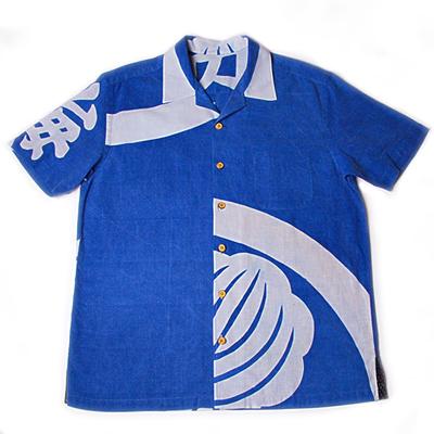 中太輪に三つ柏の家紋、Vintage古布のアロハシャツ