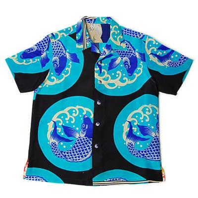 丸紋に鯉、帯皮のアロハシャツ