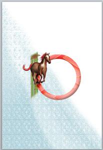 2014年賀状無料イラスト・馬の飾り枠