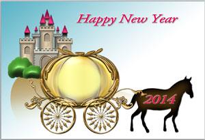 年賀状無料素材の馬車イラストにぼかし