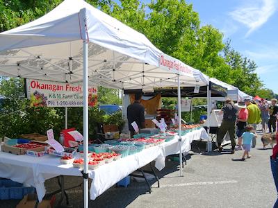オーガニックの果物が売られている