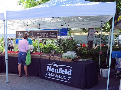 ここでも新鮮な野菜と果物が売られている