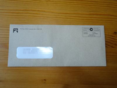 ICBCから届いた封筒