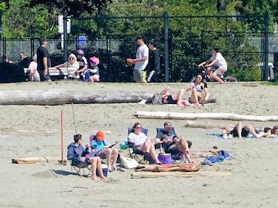 ビーチでくつろぐ人々