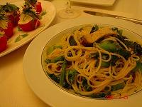 菜の花とメカジキスパゲッティ