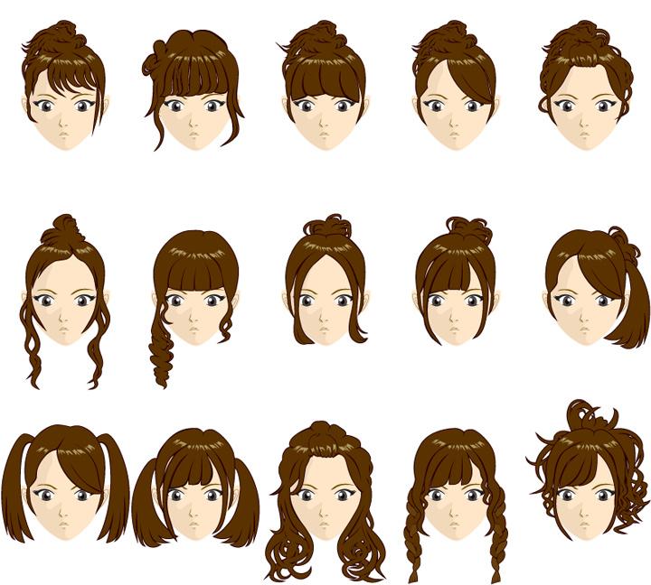 髪型女性 イラスト
