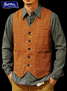 Pherrows フェローズ  12W-P3V-D BROWN DUCK WORK VEST ブラウンダックワークベスト