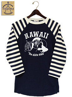 TOPAZ トパーズ TC-3166 RAGLAN SLEEVE B.B.Tee [ HAWAII ] 七分袖ベースボールTシャツ