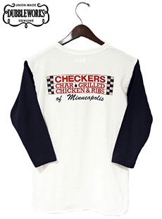 DUBBLEWORKS ダブルワークス 54001CHE-14 3/4 SLEEVE T-SHIRT [ CHECKERS ] 七分袖ベースボールTシャツ