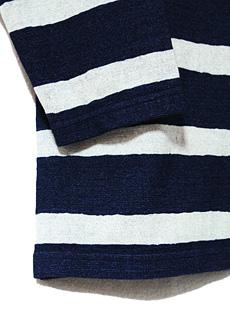 JELADO ジェラード [ ANTIQUE GARMENTS ] アンティークガーメンツ JAGT-005 インディゴ抜染ボーダー七分袖Tシャツ [ SAILOR MAN ]
