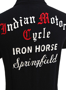 Indian MotorCycle インディアンモーターサイクル IM77068 S/S POLO SHIRT EMBD [ IRON HORSE ] 半袖鹿の子刺繡入りポロシャツ