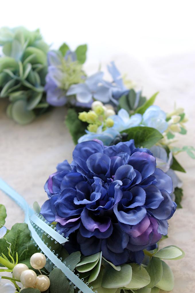 アジサイとダリアのブルーのフラワーリース|アーティフィシャルフラワー