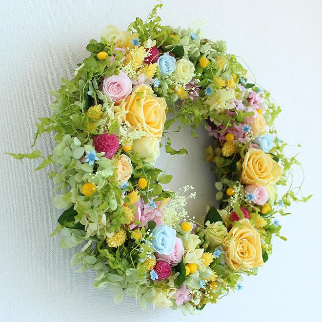 プリザーブドフラワーリース 黄色 バラ
