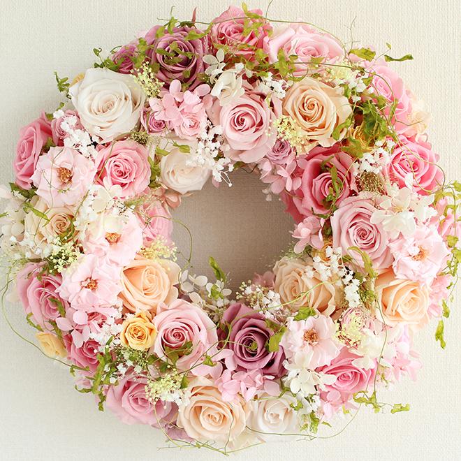 プリザーブドフラワー リース L シュガーピンクの大輪バラ満開・豪華 プリンセスリース 直径32cm