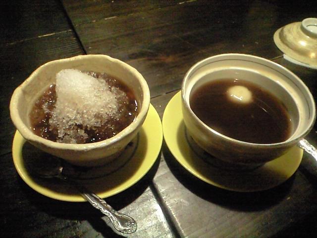 最後に甘味:黒糖のぜんざいHOT&ICE