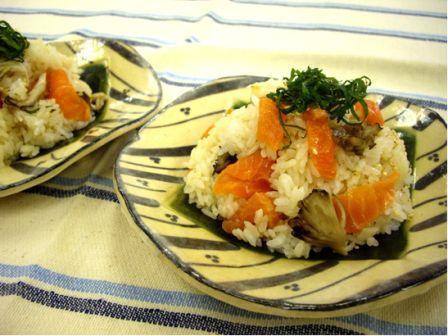 鮭と舞茸の混ぜ寿司