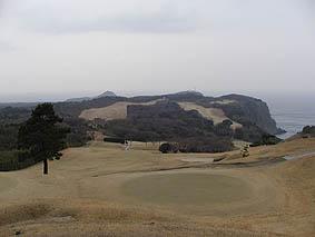 スタート前の大島ゴルフクラブ。どんよりしてました。