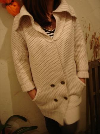 GILDED YOUTH  ◆ ウールニットダブルガウン アイボリー ¥23100