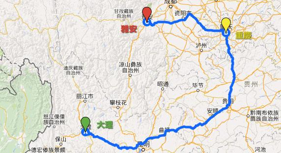 プーアル茶をつなぐ道の地図