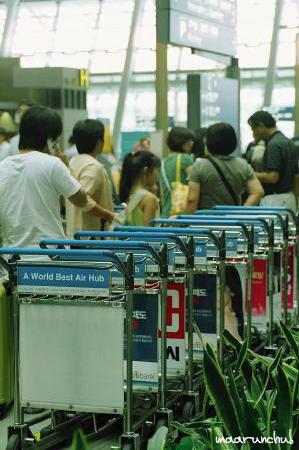 仁川空港の長蛇