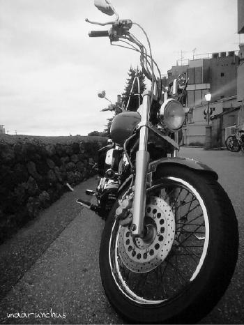 川沿いでバイク