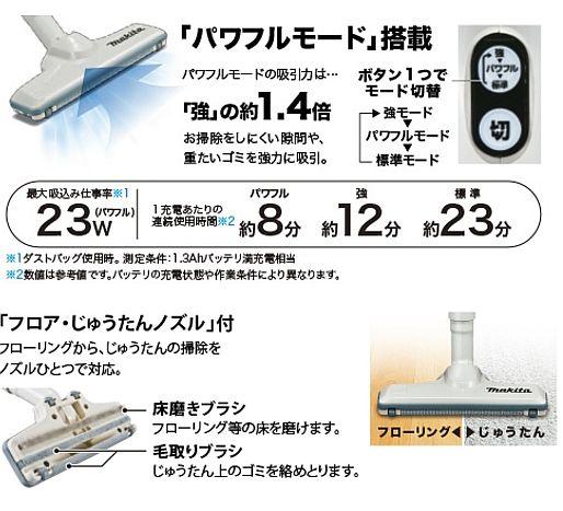 マキタ 充電式クリーナーCL105DWの説明