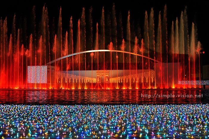 光と音と噴水のイルミネーションショー「パリ・モナムール」5