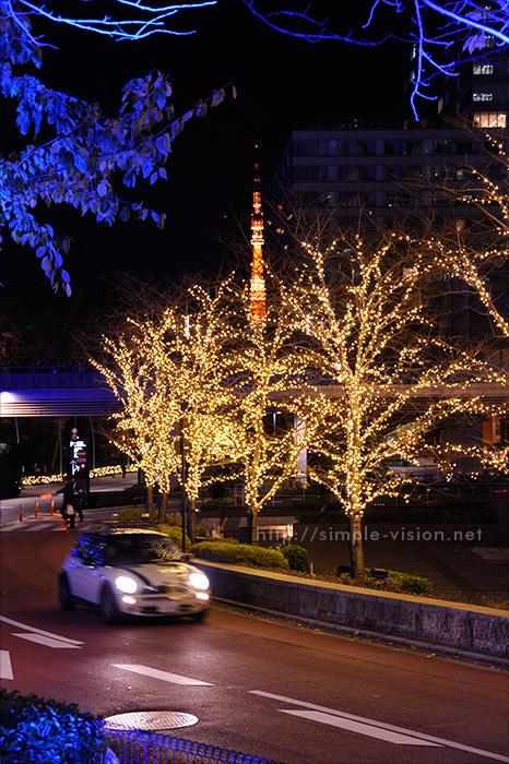 ミッドタウンのイルミネーションと東京タワー