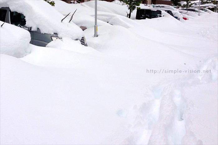 2月15日(土)朝7時の八王子市上柚木エリア積雪状況
