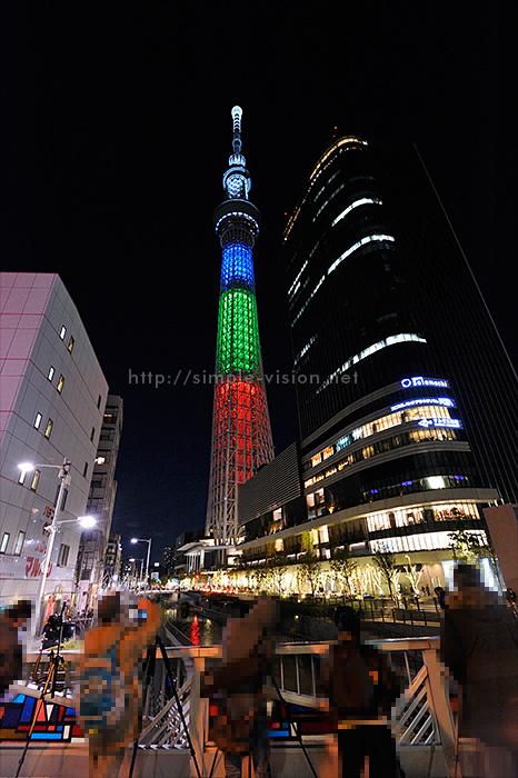 東京スカイツリー「3原色ライティング」と三脚撮影