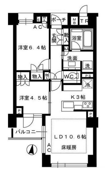 四谷三丁目駅 プラウド四谷大京 間取り図